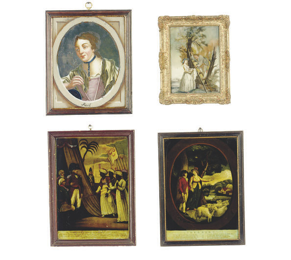 A GROUP OF NINE REVERSE APPLIED PRINTS AND PAINTED PICTURES ON GLASS,