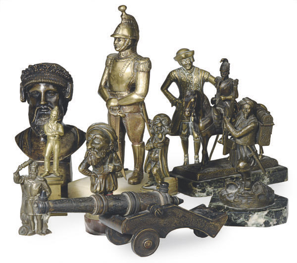 A GROUP OF 10 PATINATED-BRONZE AND GILT-METAL FIGURES,