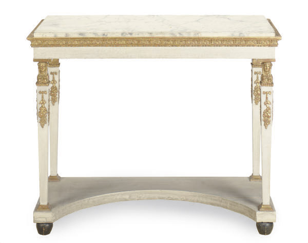 A SWEDISH GILTWOOD AND CREAM PAINTED CONSOLE TABLE WITH FAUX MARBLE TOP