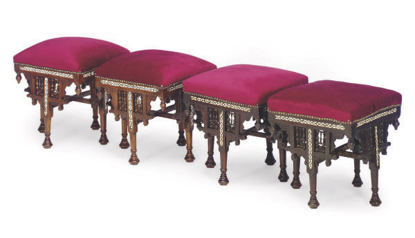 Excellent Four Syrian Bone And Marquetry Inlaid Stools Late 20Th Lamtechconsult Wood Chair Design Ideas Lamtechconsultcom