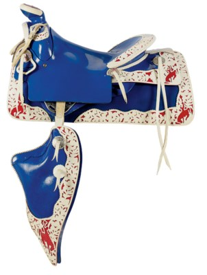 A BLUE PLASTIC SADDLE