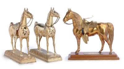 TWO METALLIC HORSES