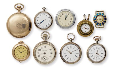 A GROUP OF NINE POCKET WATCHES