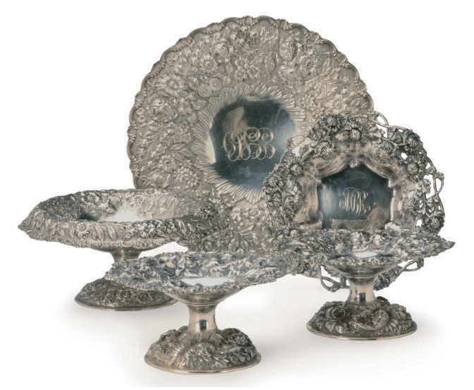 FOUR AMERICAN SILVER REPOUSSE DISHES,
