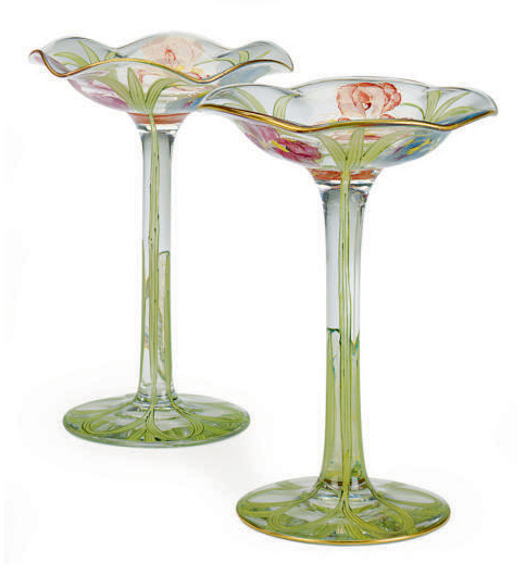 A PAIR OF AMERICAN 'NAPOLI' GLASS TAZZAS, , MOUNT