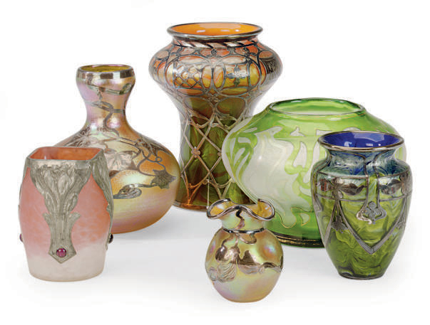FOUR SILVER OVERLAY GLASS VASES,