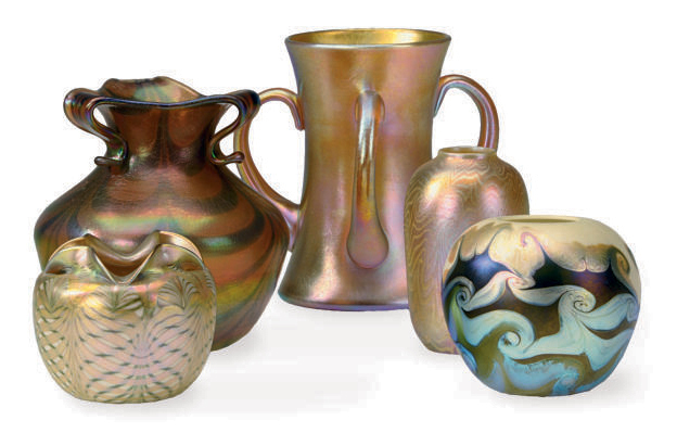 THREE SMALL AMERICAN IRIDESCENT GLASS VASES AND A LOVING CUP,