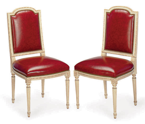 Red Upholstered Dining Room Chairs: A SET OF SIX CREAM-PAINTED AND RED LEATHER-UPHOLSTERED