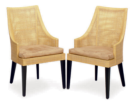 A SET OF SIX RAFFIA AND EBONIZ  sc 1 st  Christieu0027s & A SET OF SIX RAFFIA AND EBONIZED WOOD DINING CHAIRS | LATE 20TH ...