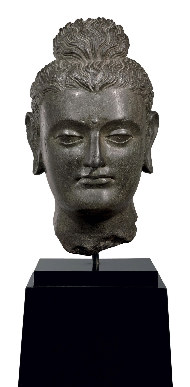 A black schist head of Buddha