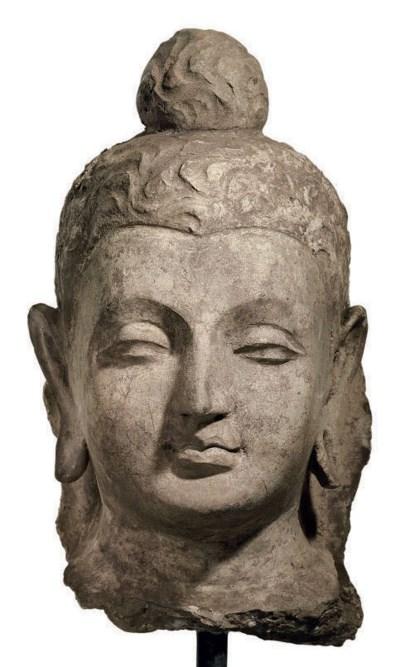 A stucco head of a Buddha