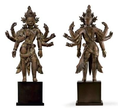 A rare gilt copper figure of A