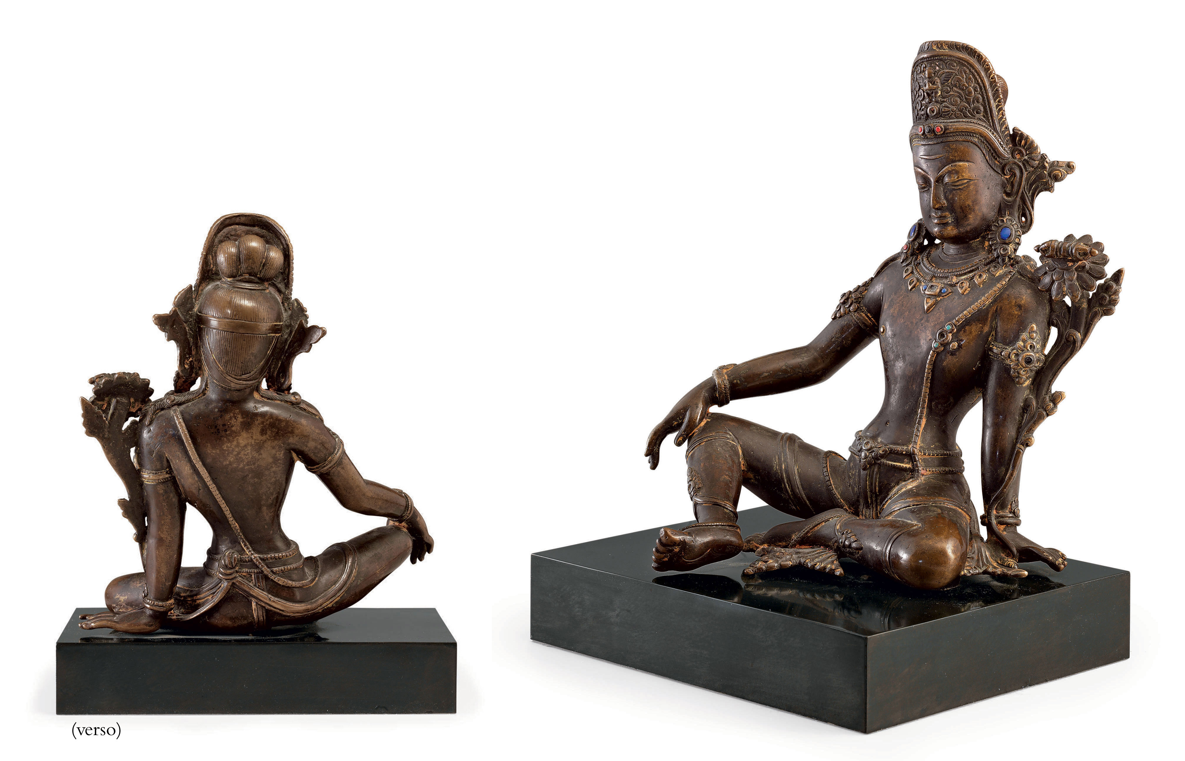 A copper figure of Indra