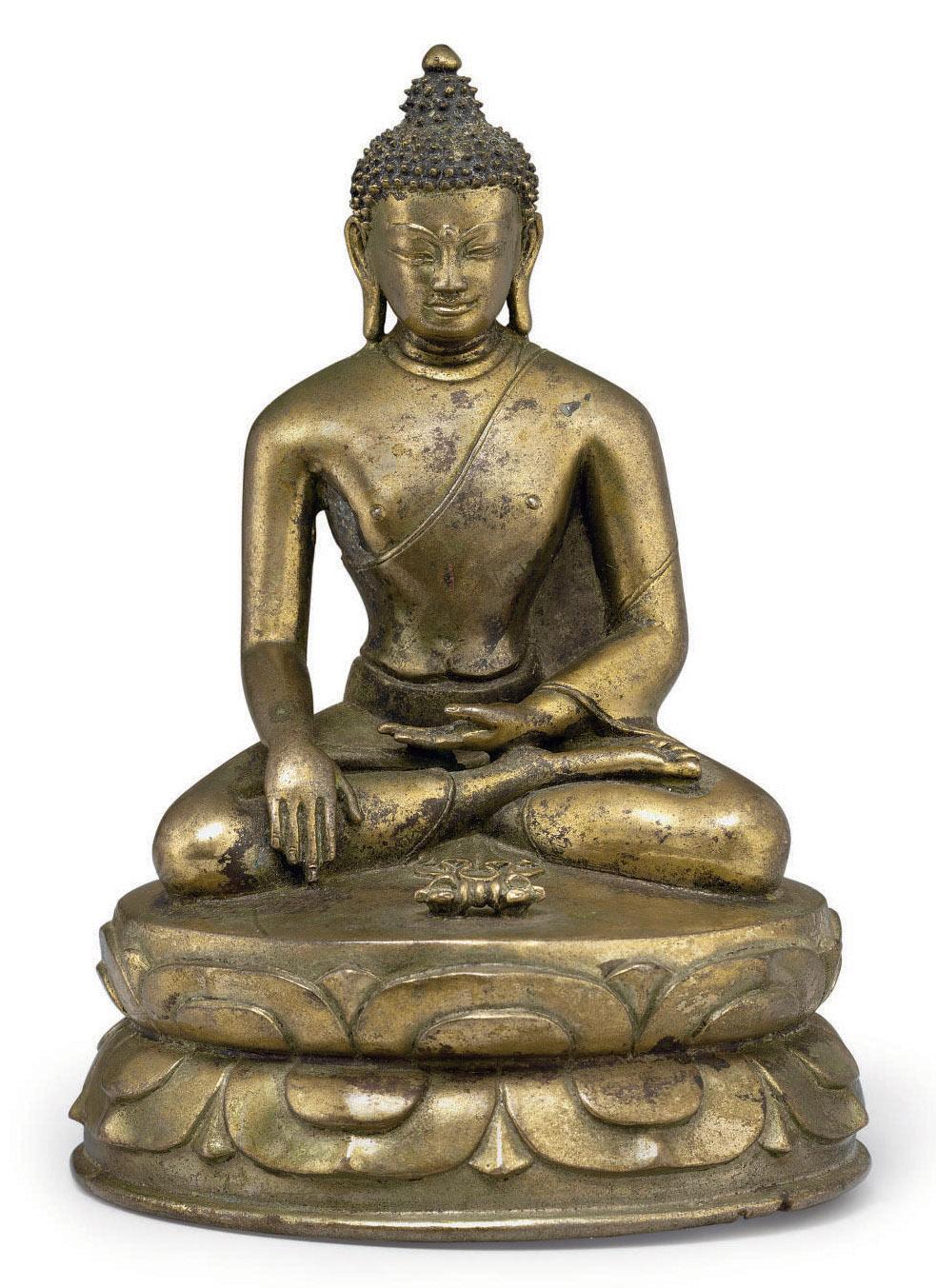 A bronze figure of Shakyamuni