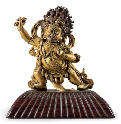 A gilt bronze figure of Vajrap