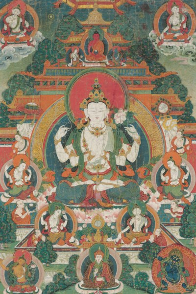A thangka of Chaturbhuja Avalo