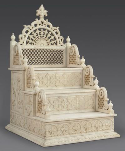 A white marble throne