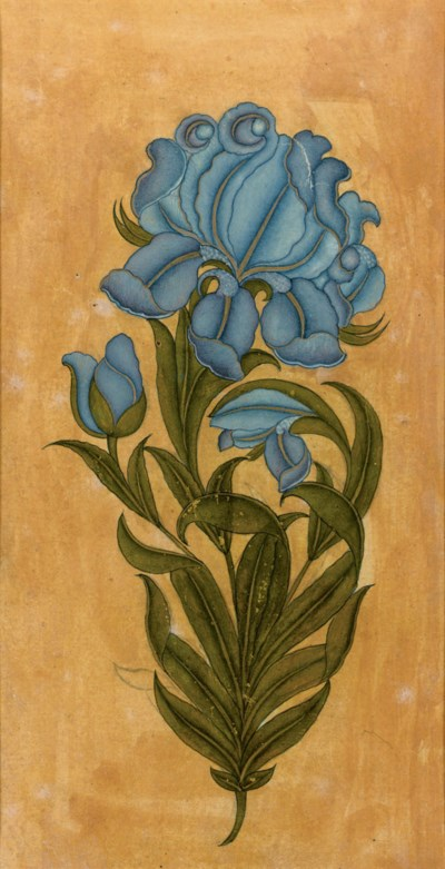 A painting of a blue flower