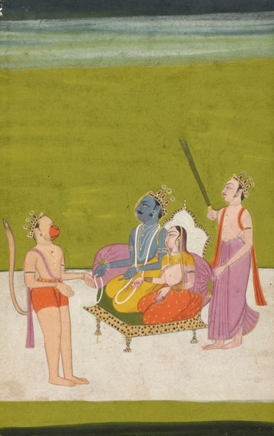 A painting of Sita, Rama and L