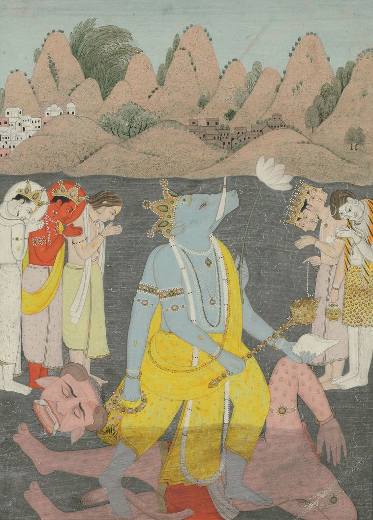 A painting of Varaha vanquishi