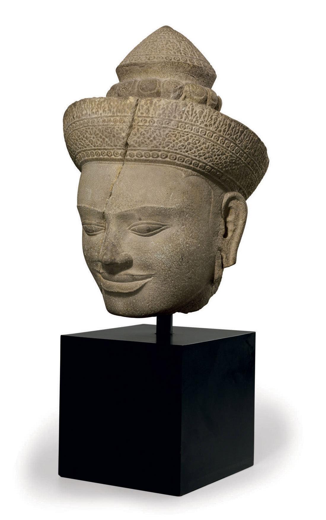 A sandstone head of a goddess