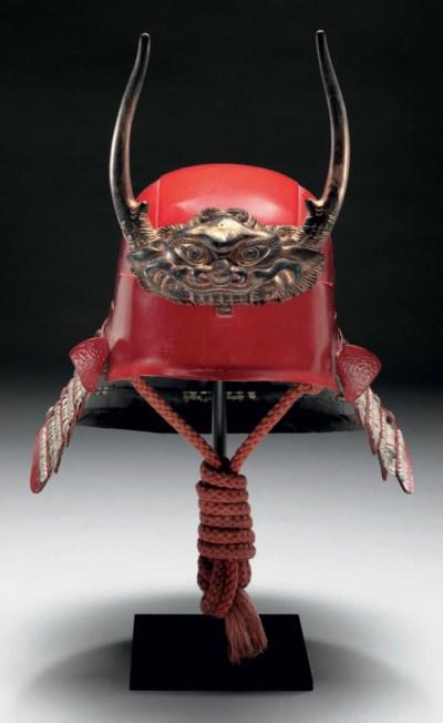 A Hineno-style helmet (kabuto)