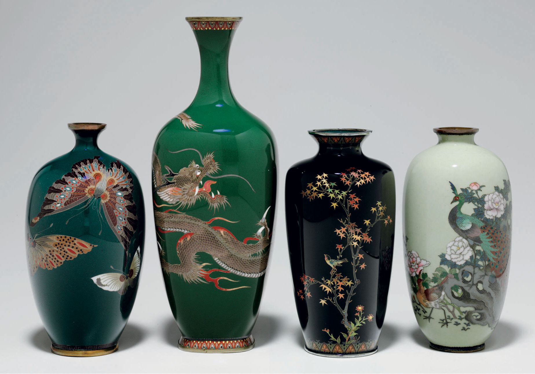 A group of four small cloisonn