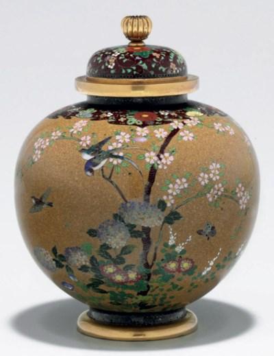 A cloisonné-enamel vase with c