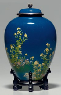 A cloisonné-enamel vase with cover