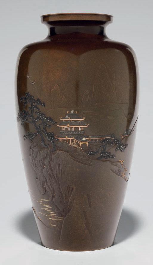 A inlaid-bronze vase
