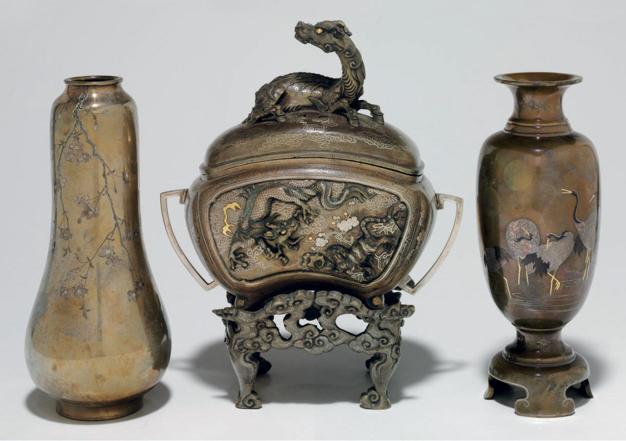 Two inlaid-bronze vases and a