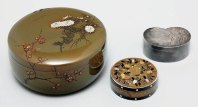 Two mixed-metal incense boxes