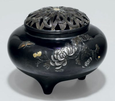 A shakudo incense burner (koro