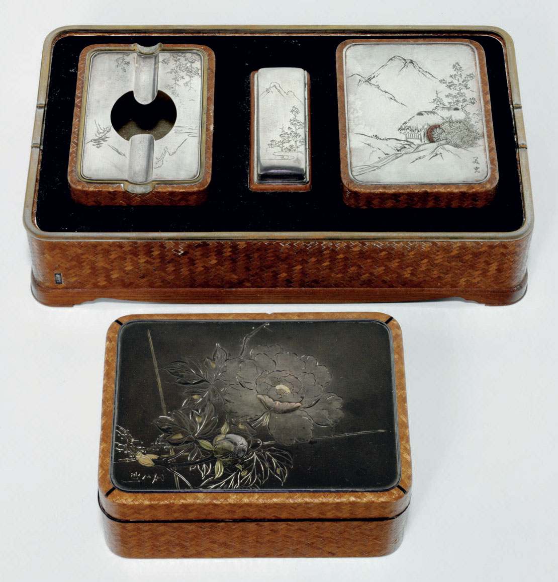 A silver-mounted smoking set a