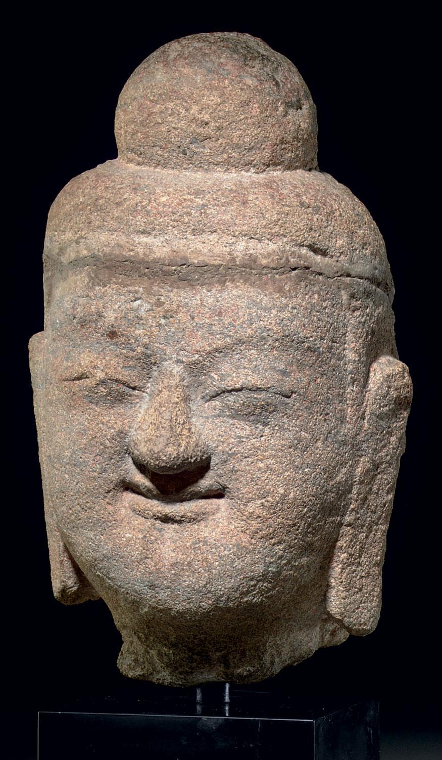 A RARE SANDSTONE HEAD OF BUDDH