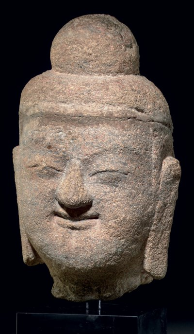 A RARE SANDSTONE HEAD OF BUDDH