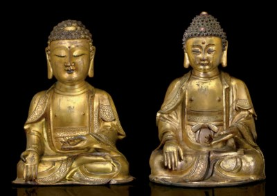 TWO SMALL GILT-BRONZE FIGURES