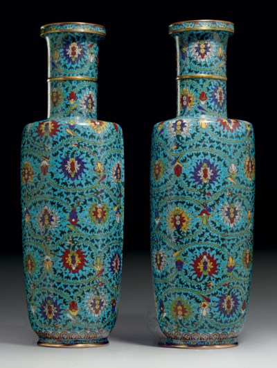A RARE PAIR OF LARGE CLOISONNE