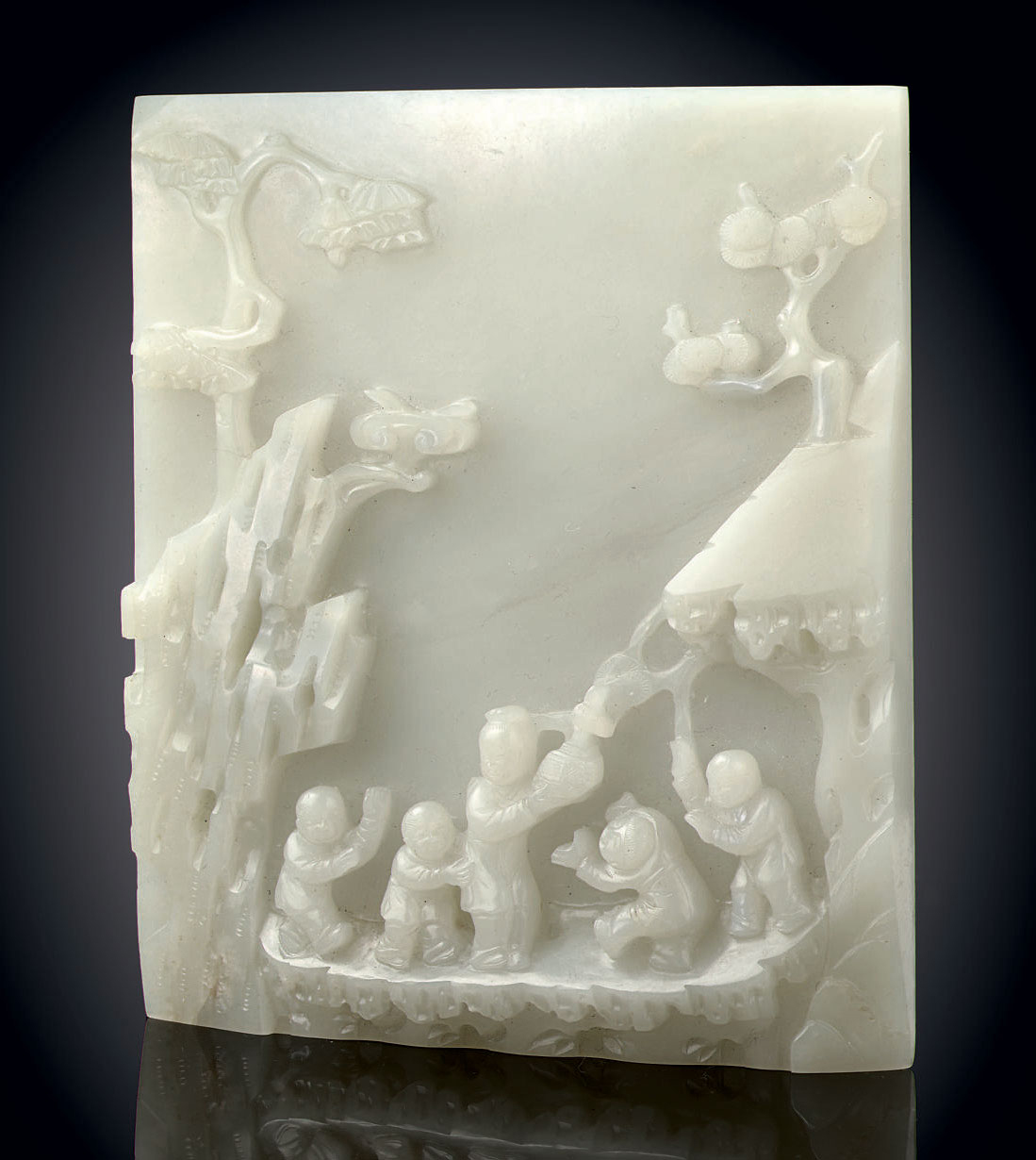 A SMALL WHITE JADE RECTANGULAR TABLE SCREEN
