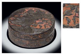 A RARE AND IMPORTANT BLACK AND RED LACQUER BOX AND COVER