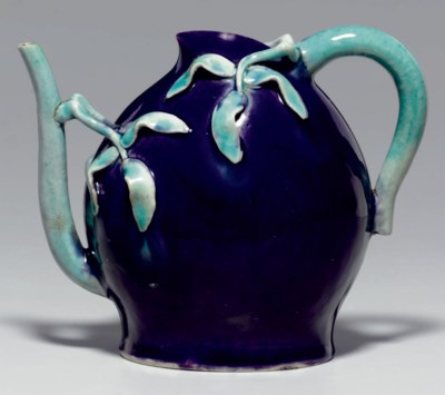 AN AUBERGINE AND TURQUOISE-GLA