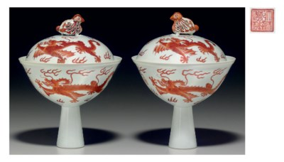 A PAIR OF IRON-RED-DECORATED S