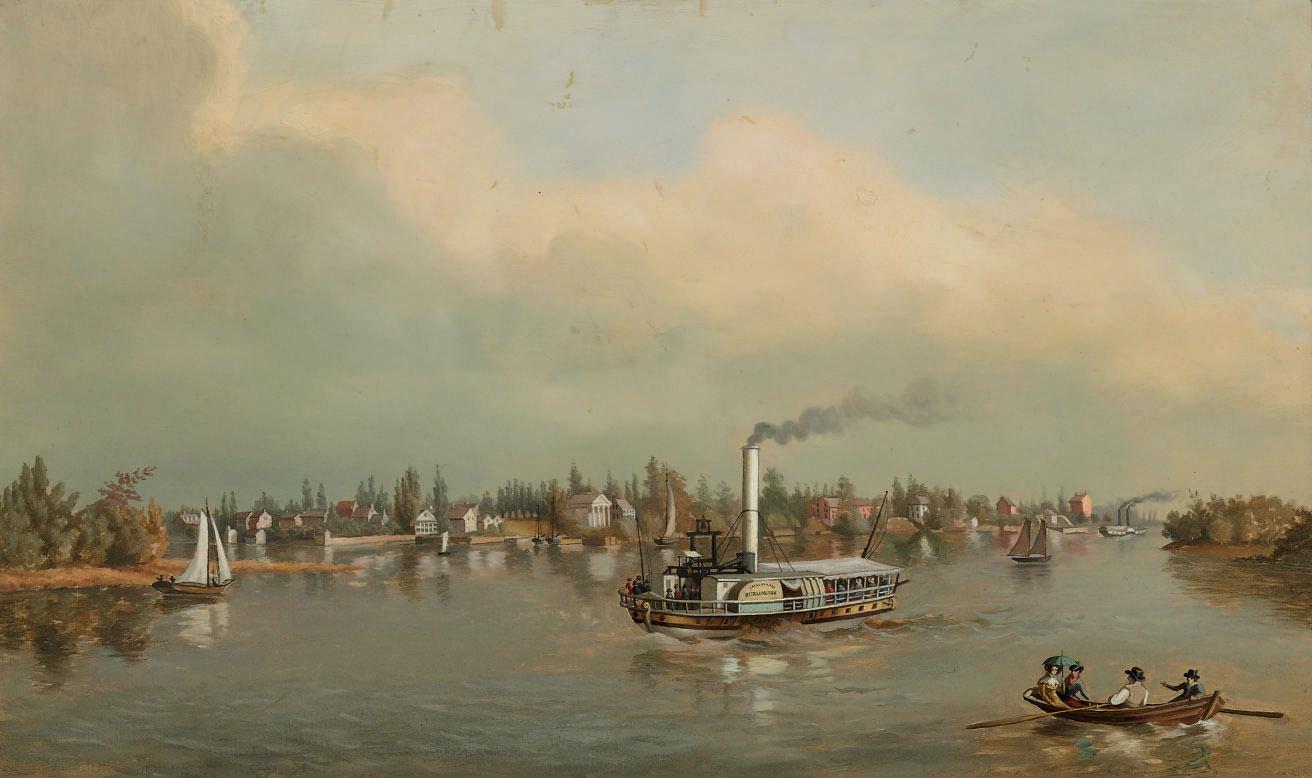 A View of Bristol taken from Green Bank, Steamboat Burlington, Built 1827