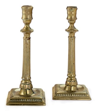 A PAIR OF GEORGE II CAST BRASS