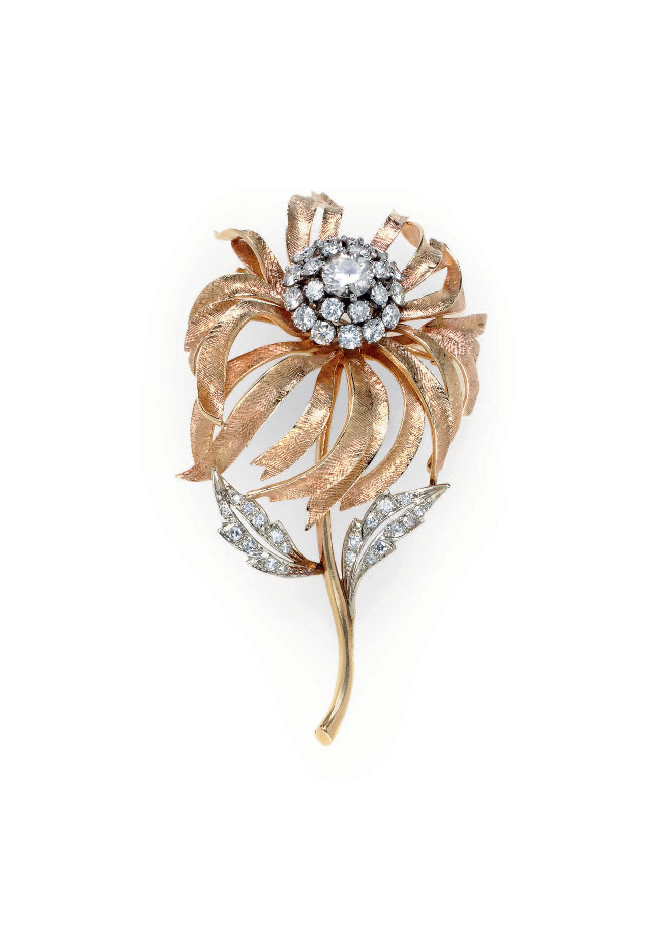A DIAMOND AND 14K GOLD FLOWER