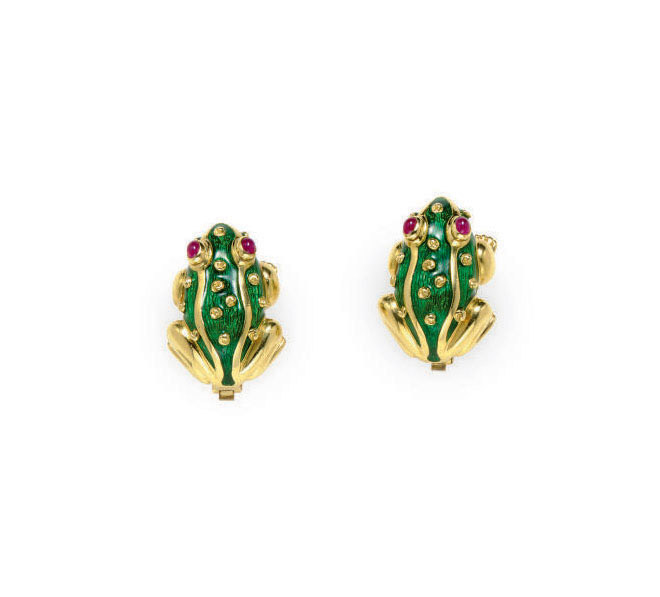 A PAIR OF ENAMEL, RUBY AND GOL