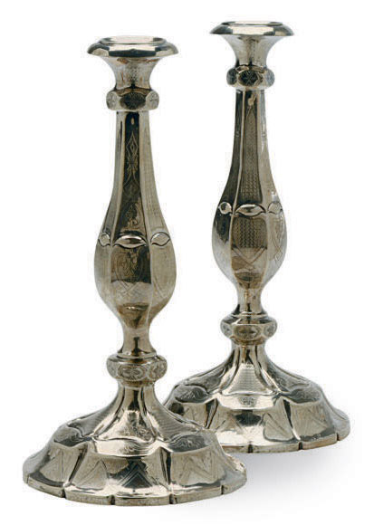 A PAIR OF HUNGARIAN SILVER CAN