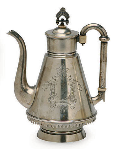 A RUSSIAN SILVER IVORY-MOUNTED