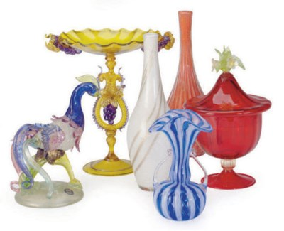 A GROUP OF VENETIAN GLASSWARE,
