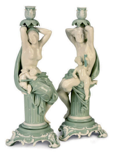 A PAIR OF ENGLISH GLAZED WHITE